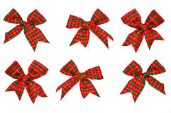 Christmas ribbons and knots. A collection set of six beatiful christmas ribbons tied into knots Stock Photo