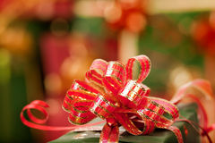 Christmas ribbons and lights Stock Photo