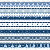Christmas ribbons patterns in blue Royalty Free Stock Images