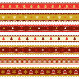 Christmas ribbons patterns in gold and red Royalty Free Stock Images