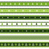 Christmas ribbons patterns in green Stock Photos