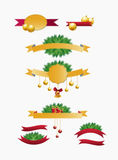Christmas ribbons set Stock Images