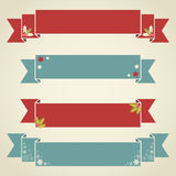 Christmas ribbons for text and sale. Winter design Christmas ribbons for text and sale discounts in retro vintage style Stock Photos