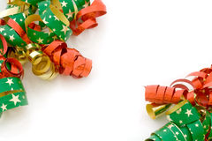 Christmas ribbons on white. Red, golden and starry Christmas ribbons on white Royalty Free Stock Images
