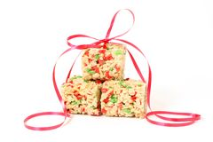 Christmas Rice Krispie squares with ribbon Royalty Free Stock Images