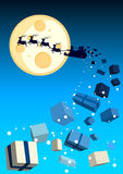 Christmas Ride. Illustration with santa flying by with gifts flying off vector illustration