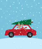 Christmas Ride. Illustration of a reindeer riding a car with christmas tree on the roof Stock Photography