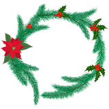 Christmas ring with mistletoe. Christmas ring made of fir branches with holly berries. Vector illustration Stock Images