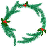 Christmas ring with mistletoe. Christmas ring made of fir branches with holly berries. Vector illustration Royalty Free Stock Photos