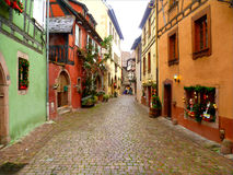 Christmas at Riquewihr. Nice Street on a small alsatian village, with christmas decorations stock photos