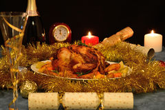 Christmas roast chicken Stock Photography