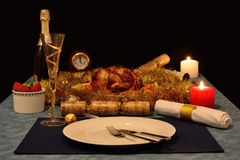Christmas roast chicken Royalty Free Stock Images