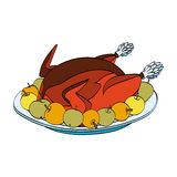 Christmas Roast Turkey With Apples On The Plate. Isolated on white background. Vector hand drawn illustration Stock Photos