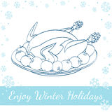 Christmas Roast Turkey With Apples On The Plate. Isolated on white background. Vector hand drawn line art illustration Royalty Free Stock Images
