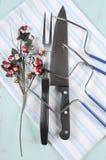 Christmas roast turkey carving utensils set Stock Image