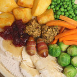 Christmas Roast Turkey Dinner. With traditional trimmings Stock Photography