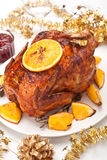 Christmas roasted chicken Royalty Free Stock Photos