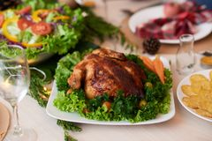 Christmas roasted chicken royalty free stock photo