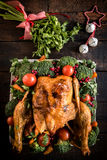 Christmas roasted chicken Stock Images