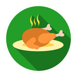 Christmas roasted turkey icon in flat style isolated on white background. Christmas Day symbol stock vector illustration Stock Photos