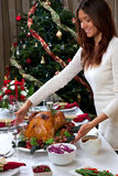 Christmas roasted turkey woman serving Royalty Free Stock Photo