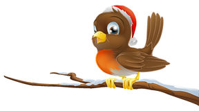 Christmas Robin. A Christmas Robin bird sitting on snowy branch illustration Royalty Free Stock Image