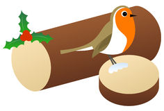 Christmas Robin Sitting on a Log Stock Images