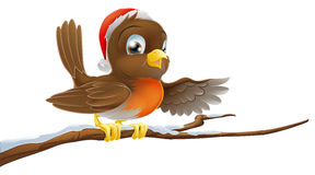 Christmas Robin on Snowy Branch Royalty Free Stock Photography