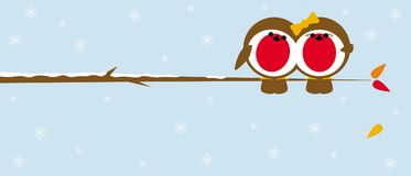 Christmas robins on branch Royalty Free Stock Images