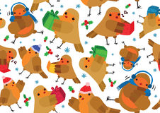 Christmas Robins Seamless Background Royalty Free Stock Image