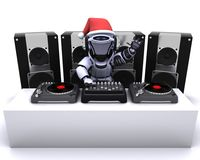 Christmas Robot  DJ mixing records on turntables Royalty Free Stock Photography