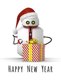 Christmas robot with a gift Stock Photo