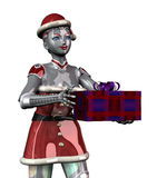 Christmas Robot Offering Gift close cropped - with clipping path. 3D render of a female Christmas robot offering a gift Royalty Free Stock Image