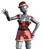 Christmas Robot Waving - close cropped - with clipping path. 3D render of a female Christmas robot waving, close cropped Stock Photo