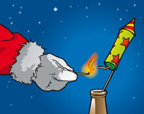 Christmas rocket. Santa Claus strike a New Year's rocket Royalty Free Stock Photos