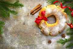 Christmas roll with poppy seed.Top view. Stock Images