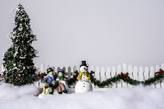 Christmas Romance on Park Bench royalty free stock images