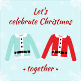 Christmas romantic card with sweaters Stock Photos