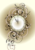 Christmas romantic design with antique clock Stock Photos