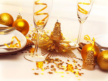Christmas romantic table setting Stock Photo