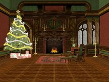 Christmas room. 3D rendered Christmas room with tree, presents and decorations Stock Images