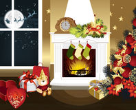 Christmas room. With fireplace and presents under tree. All elements and textures are individual objects. Vector illustration scale to any size Royalty Free Stock Images