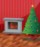 Christmas Room. Theres a fireplace and decorated christmas tree Stock Image