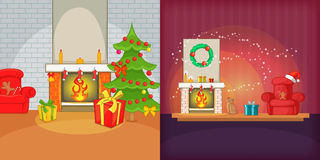 Christmas room banner set, cartoon style Stock Images