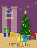 Christmas room. Bright flat Christmas room poster or card Stock Photography