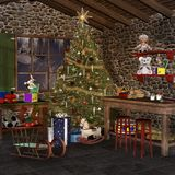 Christmas room. With desk, toys and other stuff Stock Image