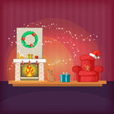 Christmas room concept magic, cartoon style Stock Photography