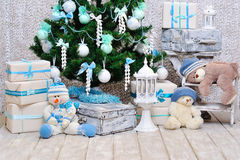 Christmas room decoration in blue and mint colors Royalty Free Stock Photography