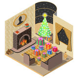 Christmas room. Festively decorated room. Christmas Gifts, tree, fireplace ,tapis and vase. 3D isometric view. Vector illustration Royalty Free Stock Image