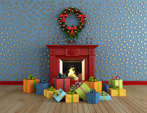 Christmas room with fireplace. Empty vintage room with red classic fireplace and colorful gift - rendering Stock Photos